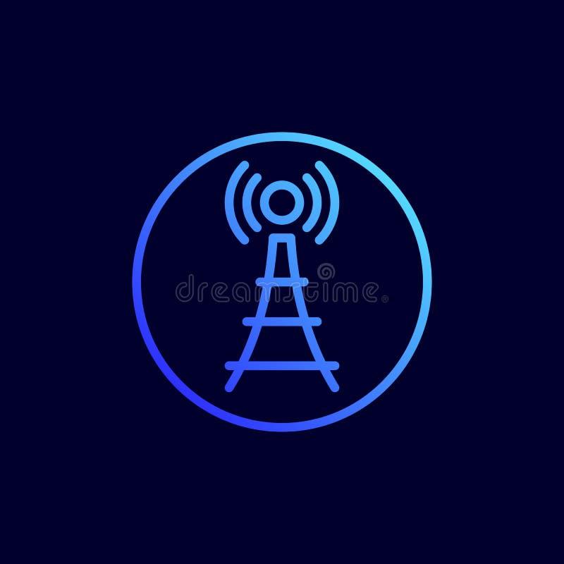 Icono de la torre del teléfono celular Ejemplo del vector en la línea estilo plana ilustración del vector