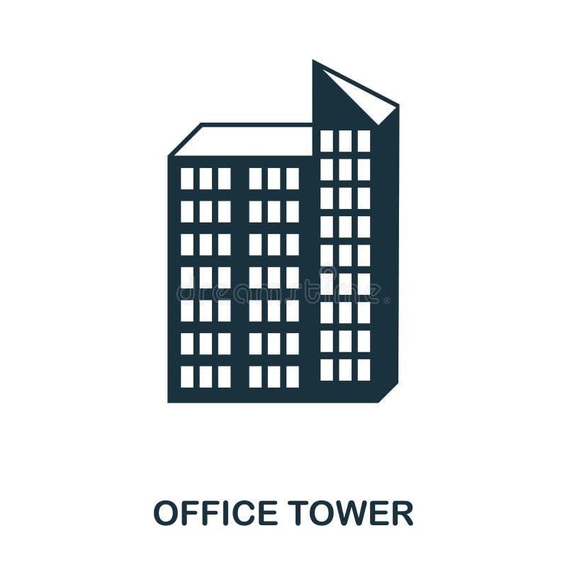 icono de la torre de la oficina Línea diseño del icono del estilo Ui Ejemplo del icono de la torre de la oficina pictograma aisla stock de ilustración