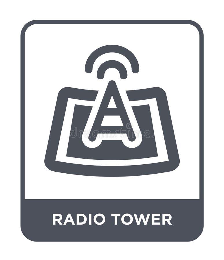 icono de la torre de radio en estilo de moda del diseño icono de la torre de radio aislado en el fondo blanco icono del vector de libre illustration