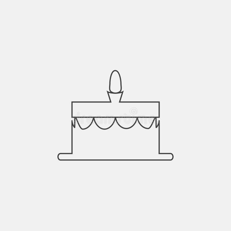 Icono de la torta de cumpleaños stock de ilustración