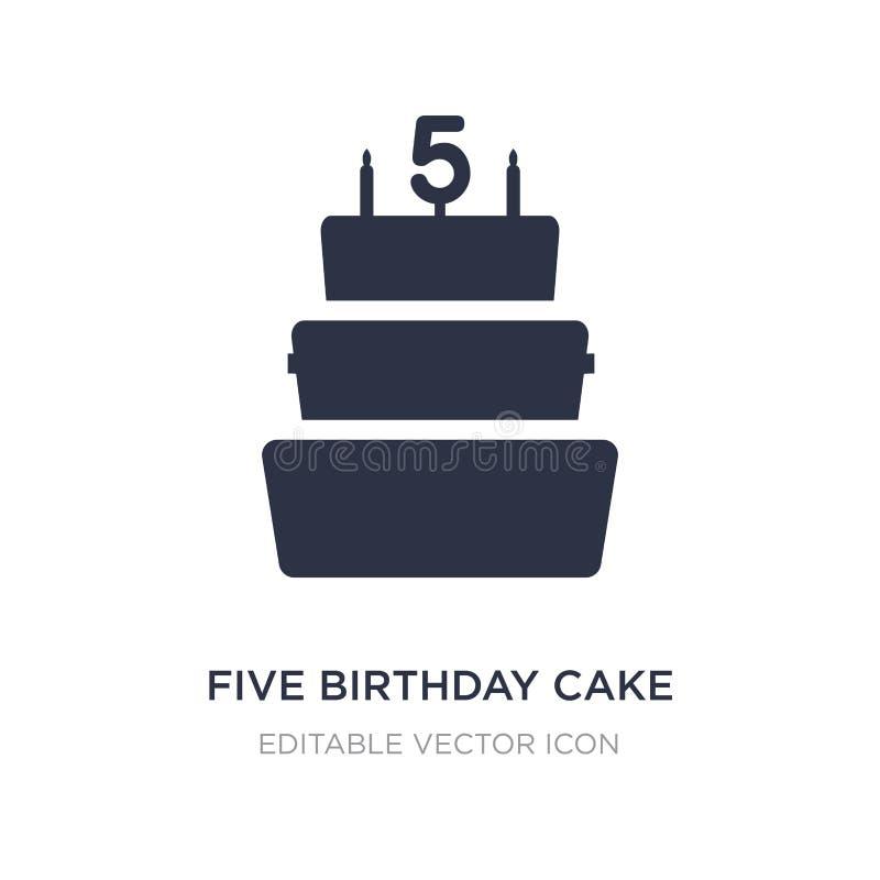 icono de la torta de cumpleaños cinco en el fondo blanco Ejemplo simple del elemento del concepto de la comida ilustración del vector