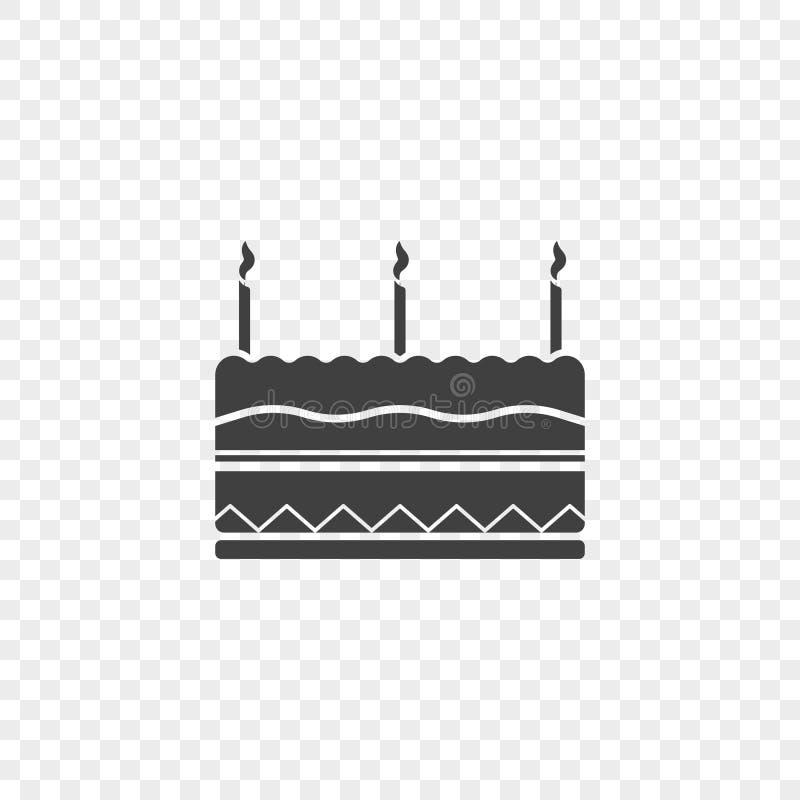 Icono de la torta de cumpleaños con tres velas en el top Ejemplo del vector en un fondo transparente ilustración del vector