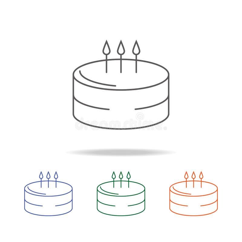 Icono de la torta de cumpleaños Elemento de un icono coloreado multi del partido para los apps móviles del concepto y del web Lín libre illustration