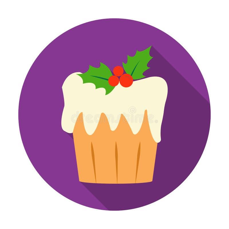 Icono de la torta de la Navidad en estilo plano aislado en el fondo blanco Ejemplo del vector de la acción del símbolo del día de ilustración del vector
