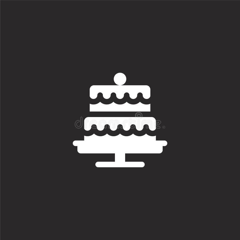 Icono de la torta Icono llenado de la torta para el diseño y el móvil, desarrollo de la página web del app icono de la torta de l ilustración del vector