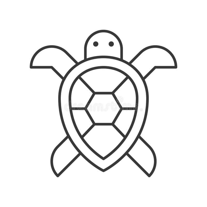 Icono de la tortuga de mar, sistema de vida del océano, línea vector del diseño stock de ilustración