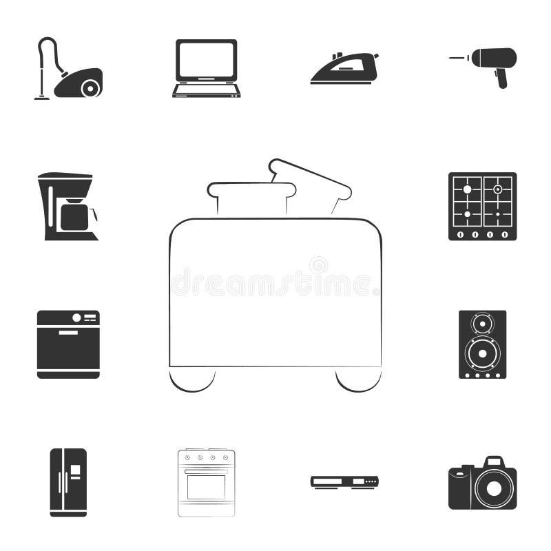 icono de la tostadora del logotipo Sistema detallado de iconos de los artículos del hogar Diseño gráfico de la calidad superior U stock de ilustración