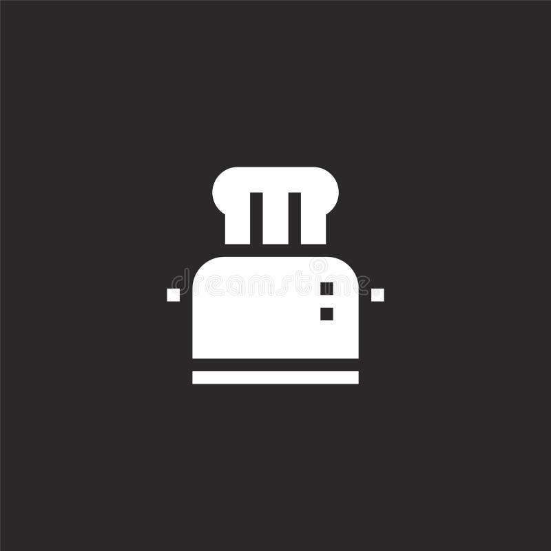 Icono de la tostadora Icono llenado de la tostadora para el diseño y el móvil, desarrollo de la página web del app icono de la to ilustración del vector