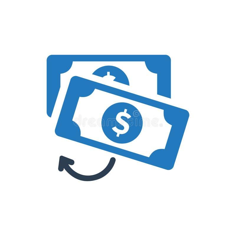 Icono de la transferencia monetaria stock de ilustración