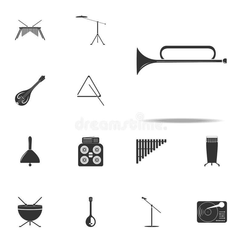 icono de la trompeta del instrumento musical Sistema universal de los iconos de los instrumentos de música para la web y el móvil libre illustration