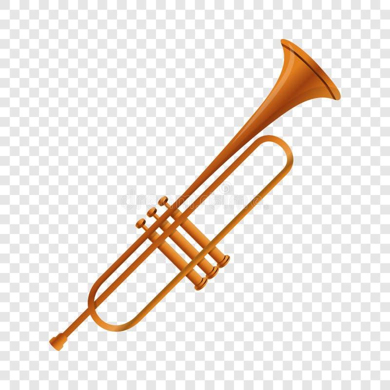 Icono de la trompeta del oro, estilo de la historieta ilustración del vector