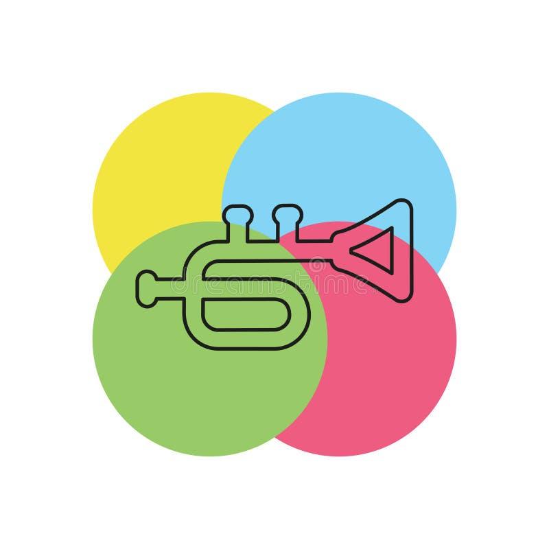 Icono de la trompeta - instrumento de música - icono de la música de jazz ilustración del vector