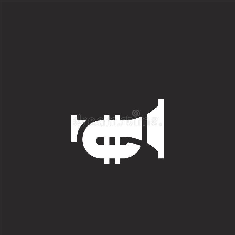 Icono de la trompeta Icono llenado de la trompeta para el diseño y el móvil, desarrollo de la página web del app icono de la trom ilustración del vector