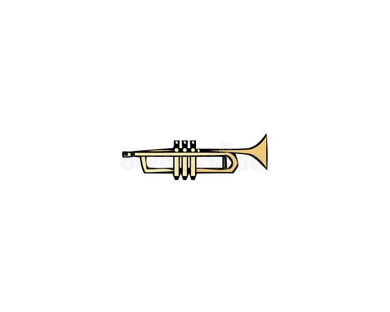 Icono de la trompeta de la música Historieta del icono del vector de la trompeta de la música para el diseño web aislado en el fo libre illustration
