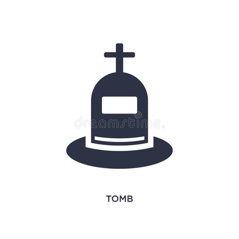 icono de la tumba en el fondo blanco Ejemplo simple del elemento del concepto de la historia ilustración del vector