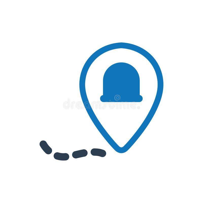 Icono de la ubicación de la ambulancia stock de ilustración