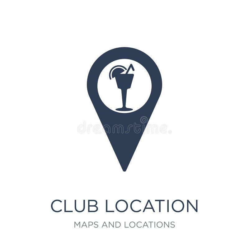 Icono de la ubicación del club Icono plano de moda de la ubicación del club del vector en whi libre illustration