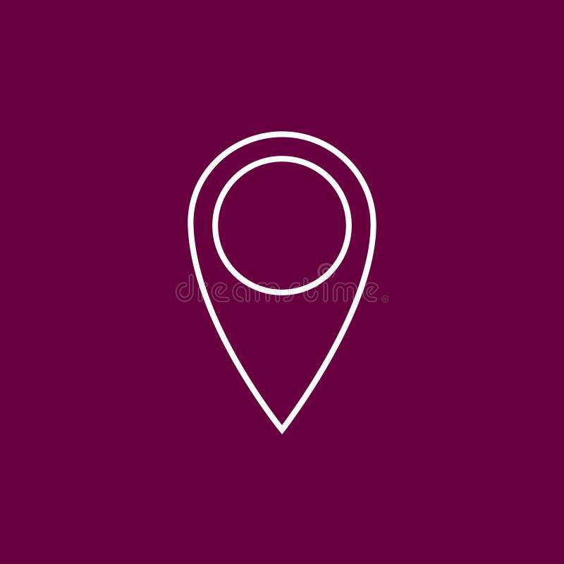 Icono de la ubicación del esquema en fondo carmesí/púrpura/rosado ilustración del vector