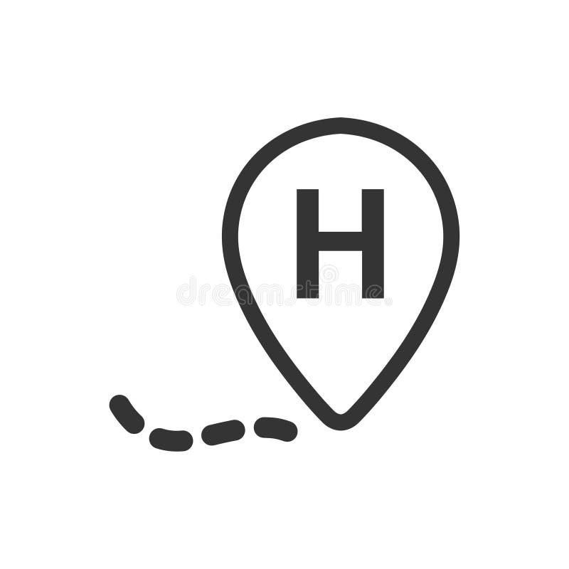 Icono de la ubicación del hospital ilustración del vector