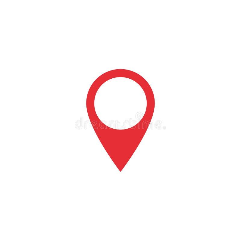 Icono de la ubicación del mapa del vector Forma de la ubicación del mapa Etiqueta roja de la ubicación Elemento para el interfaz  ilustración del vector