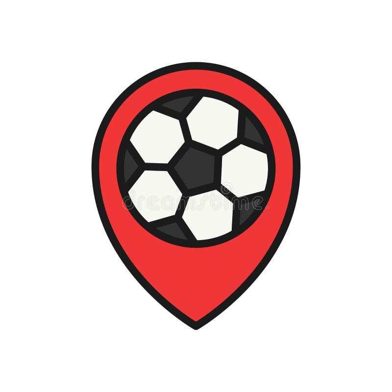 Icono de la ubicación del partido de fútbol localizador del perno del estadio símbolo simple del deporte del estilo del esquema d stock de ilustración