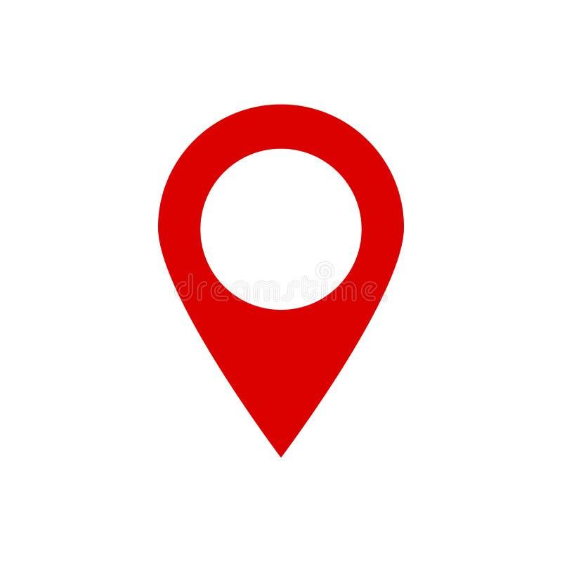 Icono de la ubicación para el mapa Indicador del vector en fondo aislado Posición del icono del Pin Símbolo de ubicación rojo Vec ilustración del vector