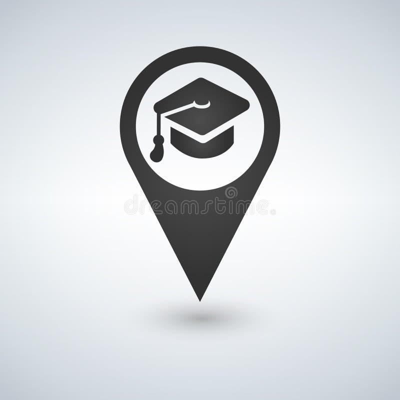 Icono de la ubicación de la universidad Símbolo de la silueta del indicador del mapa de la sombra del descenso Punta del sombrero stock de ilustración
