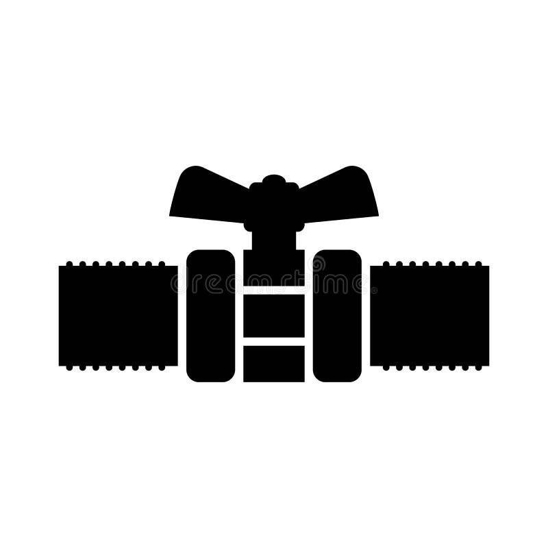Icono de la válvula del grifo del tubo de la fontanería Negro aislado libre illustration