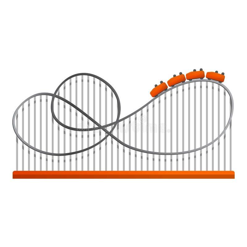Icono de la vía del tren de la diversión, estilo de la historieta ilustración del vector