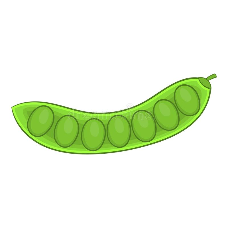 Icono de la vaina de guisante verde, estilo de la historieta stock de ilustración