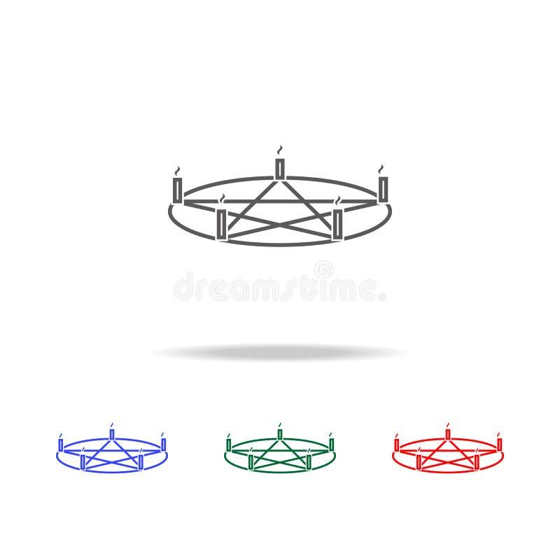 Icono de la vela del Pentagram Elementos de Halloween en iconos coloreados multi Icono superior del diseño gráfico de la calidad  stock de ilustración