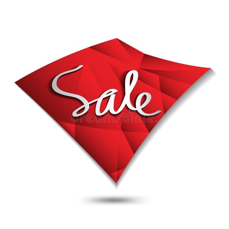 Icono de la venta, vector cuadrado del polígono, etiqueta engomada, etiqueta, botones, etiquetas, bandera de la promoción, márket stock de ilustración