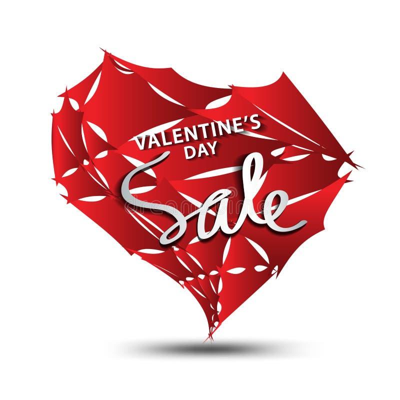 Icono de la venta, vector del polígono del corazón, etiqueta engomada, etiqueta, botones, etiquetas, bandera de la promoción, már libre illustration