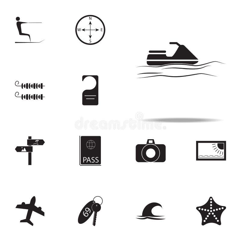 Icono de la vespa del agua sistema universal de los iconos del placer del verano para la web y el móvil ilustración del vector