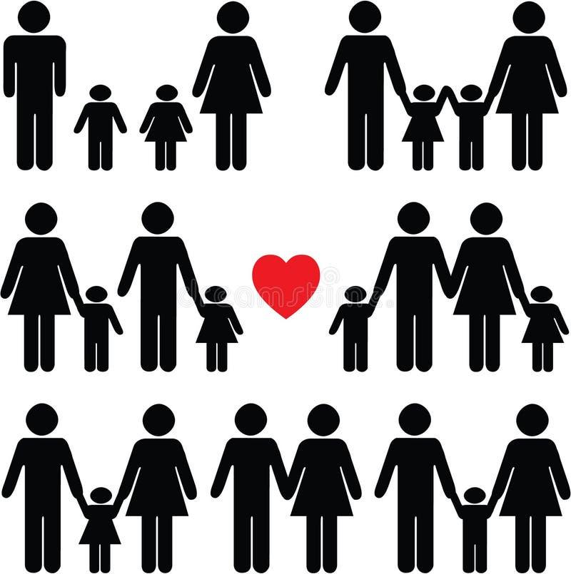 Icono de la vida familiar fijado en negro ilustración del vector