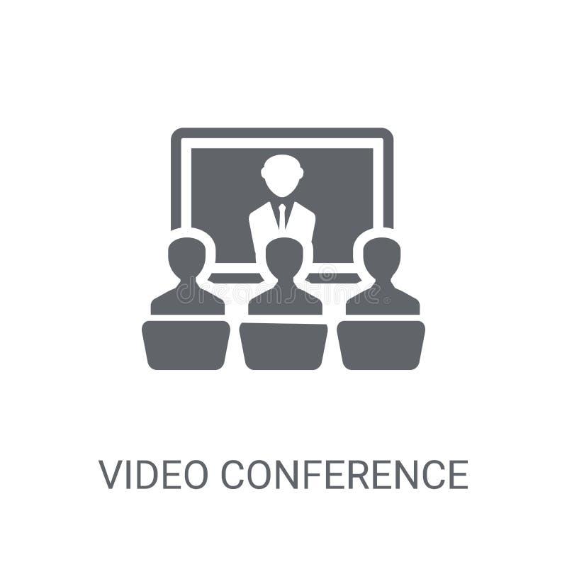 Icono de la videoconferencia Concepto de moda del logotipo de la videoconferencia en w libre illustration