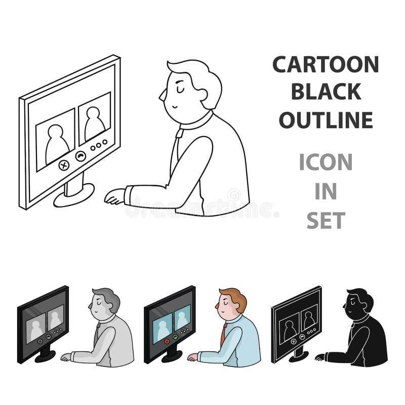 Icono de la videoconferencia en estilo de la historieta aislado en el fondo blanco Vector de la acción del símbolo de la conferen ilustración del vector