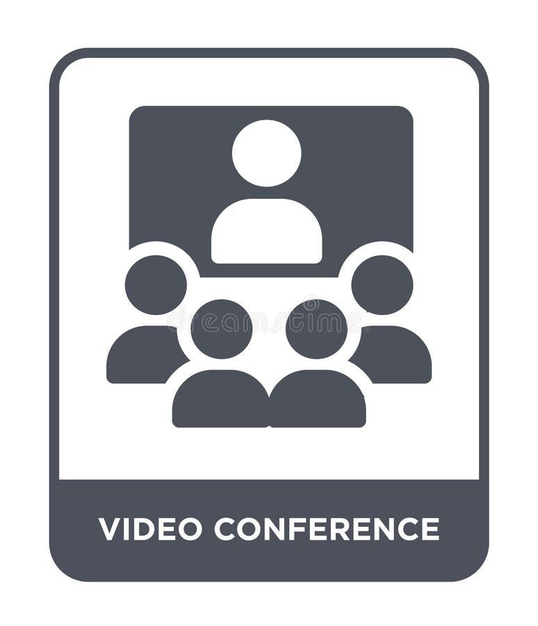icono de la videoconferencia en estilo de moda del diseño Icono de la videoconferencia aislado en el fondo blanco Icono del vecto libre illustration