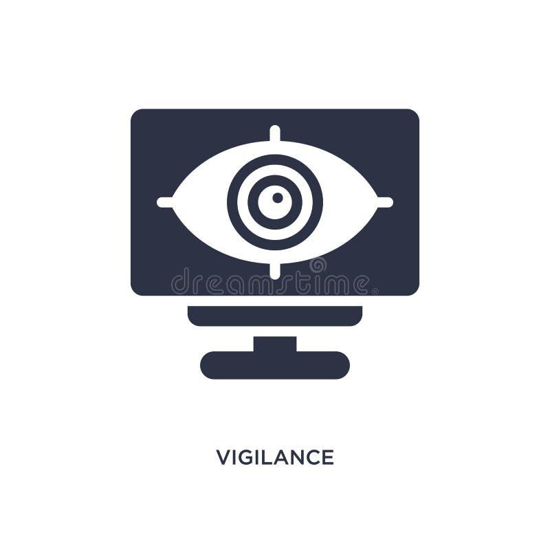 icono de la vigilancia en el fondo blanco Ejemplo simple del elemento del concepto de la interfaz de usuario ilustración del vector