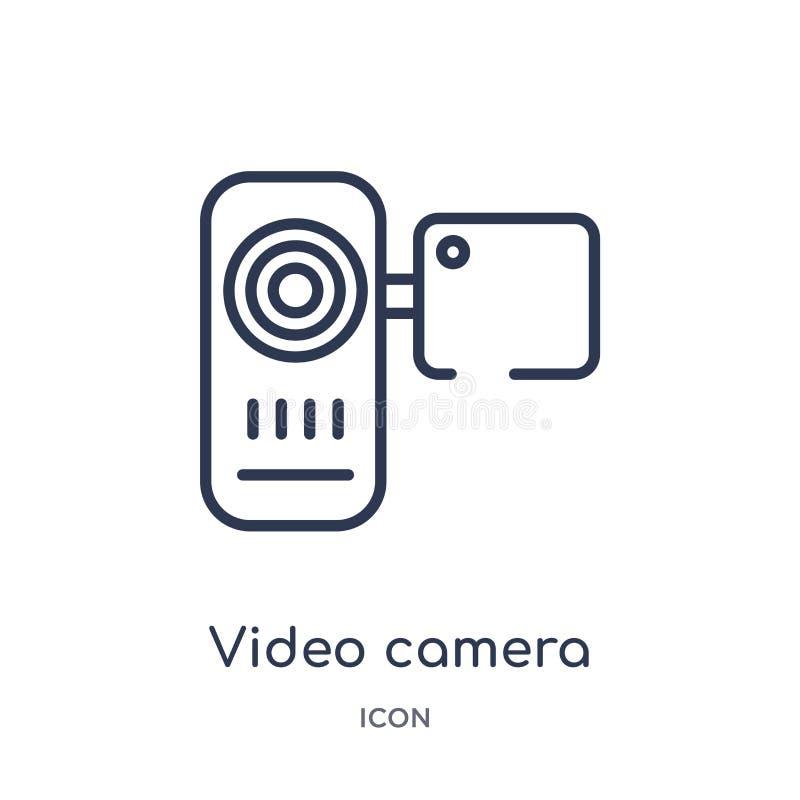 icono de la vista delantera de la cámara de vídeo de la colección del esquema de la tecnología Línea fina icono de la vista delan stock de ilustración