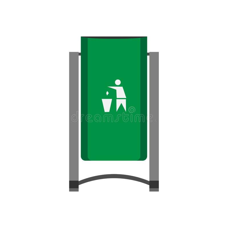 Icono de la vista delantera del vector del verde del compartimiento de la calle Concepto de la basura de los desperdicios de la e stock de ilustración