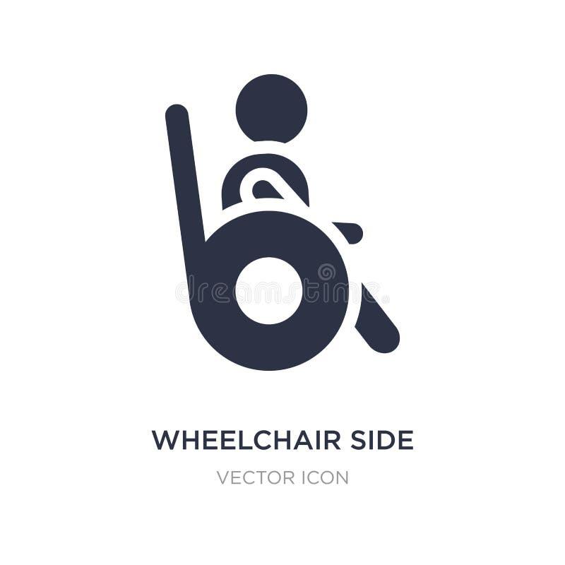 icono de la vista lateral de la silla de ruedas en el fondo blanco Ejemplo simple del elemento del concepto de la gente stock de ilustración