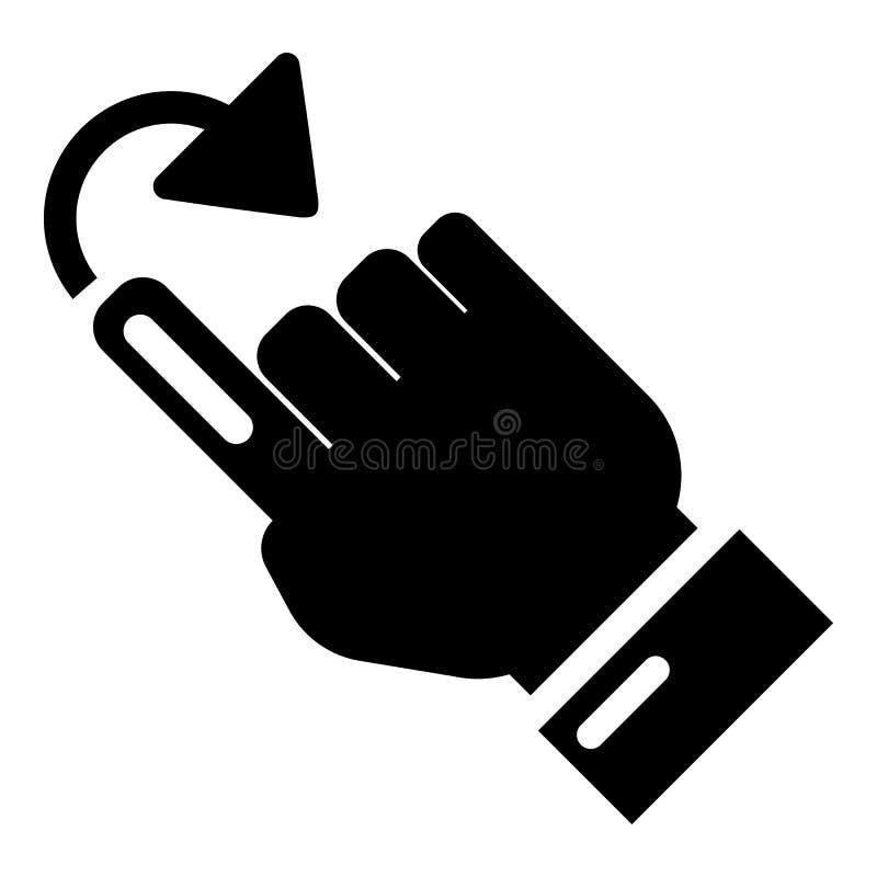 Icono de la vuelta del cursor, estilo negro simple stock de ilustración