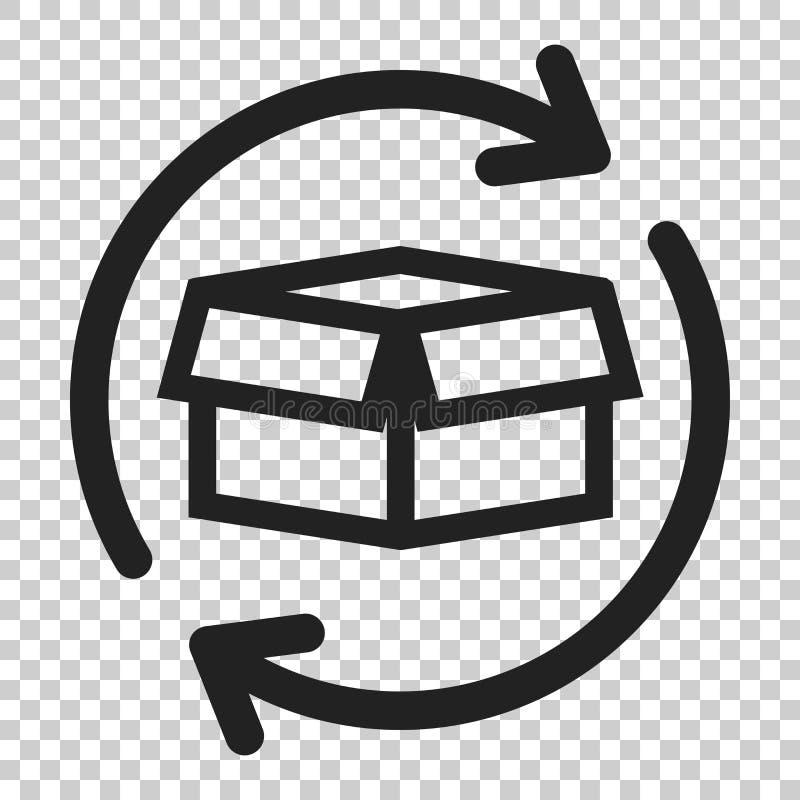 Icono de la vuelta del paquete de la caja en estilo plano Caja de la entrega con la flecha i ilustración del vector