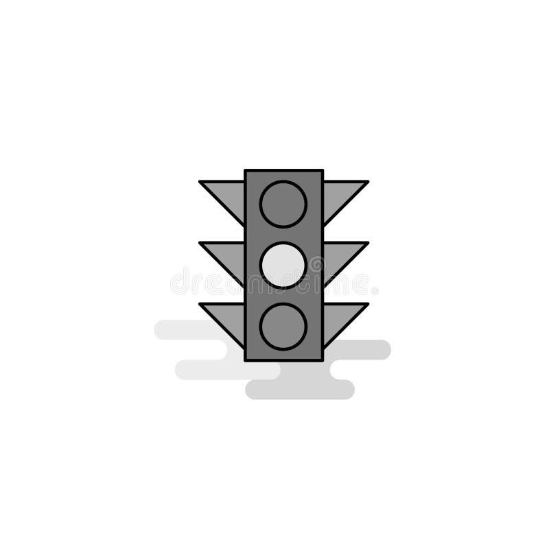 Icono de la web de la señal de tráfico La línea plana llenó a Gray Icon Vector libre illustration