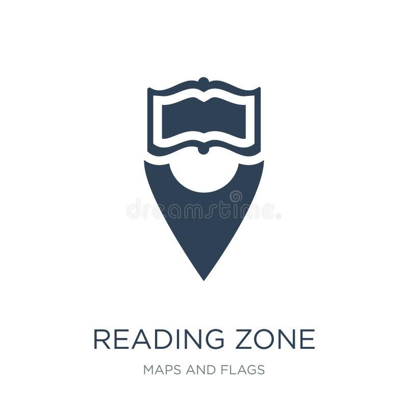 icono de la zona de la lectura en estilo de moda del diseño leyendo el icono de la zona aislado en el fondo blanco leyendo el ico stock de ilustración