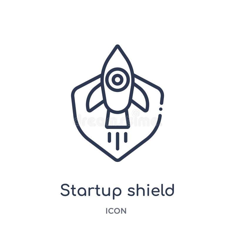 icono de lanzamiento del escudo de la colección stategy y del éxito de lanzamiento del esquema Línea fina icono de lanzamiento de ilustración del vector