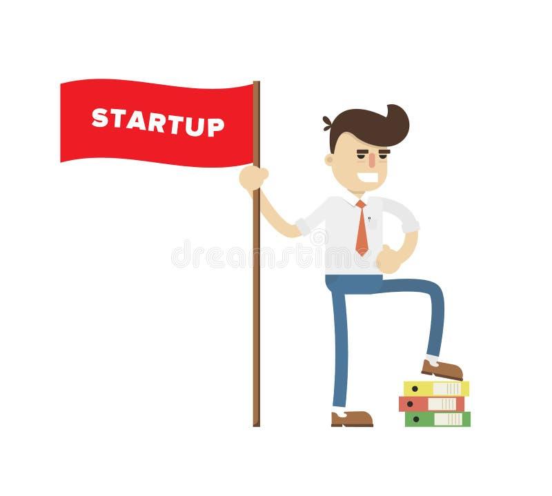 Icono de lanzamiento del proyecto del negocio con el hombre de negocios ilustración del vector