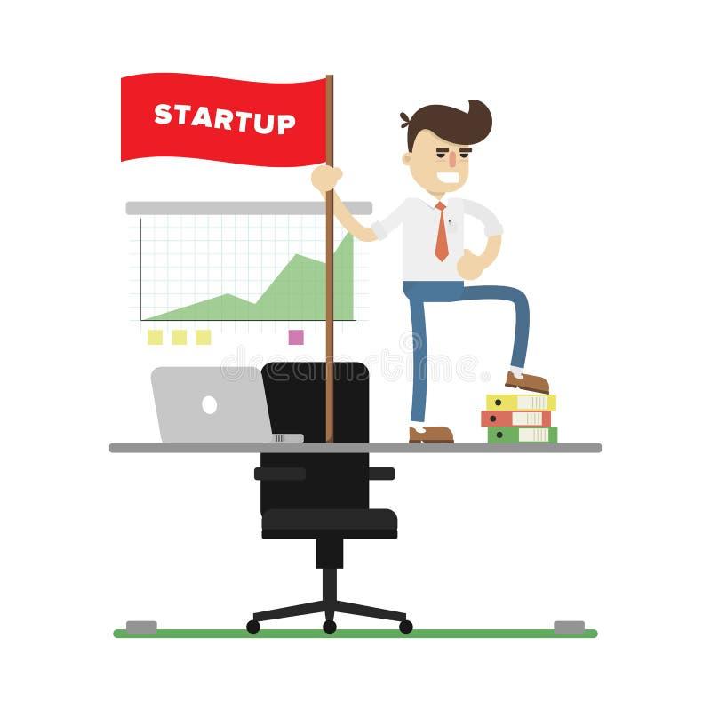 Icono de lanzamiento del proyecto del negocio con el hombre de negocios libre illustration