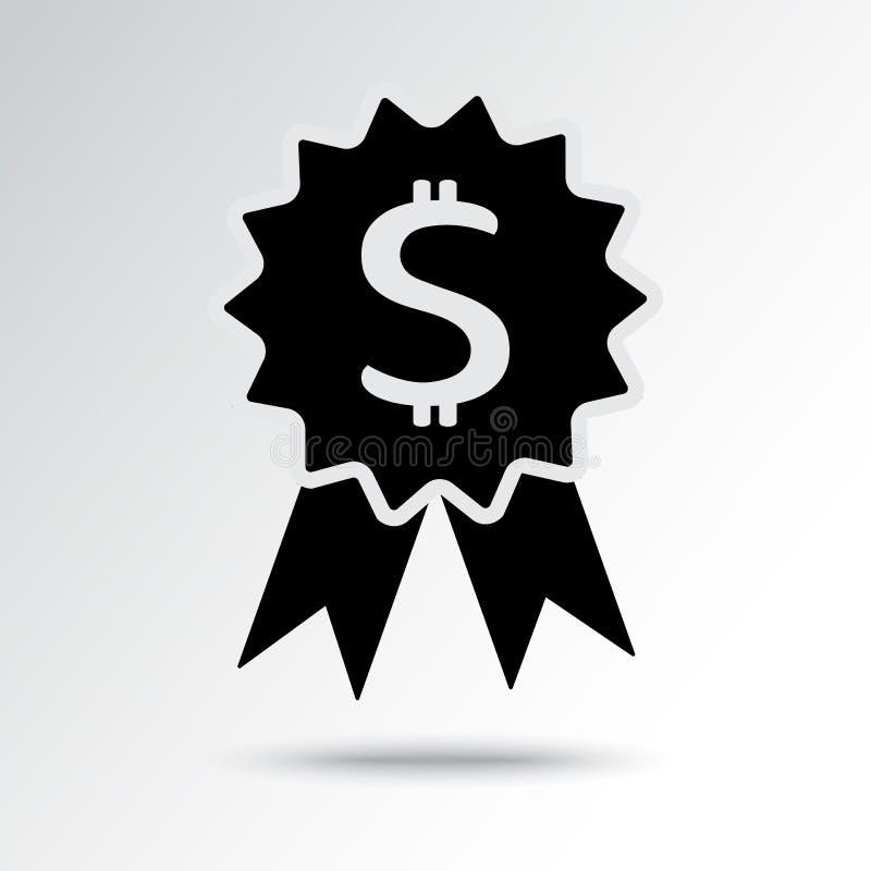 Icono de las actividades bancarias con el d?lar de la muestra Premio blanco y negro Ilustraci?n del vector libre illustration